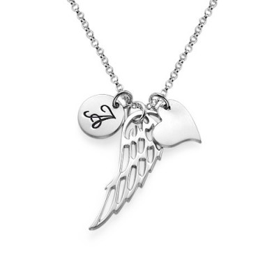 Sterling Silver Angel Wing Necklace - Name My Jewelry ™