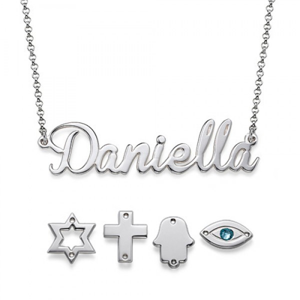Sterling Silver Charm Name Necklace - Name My Jewelry ™