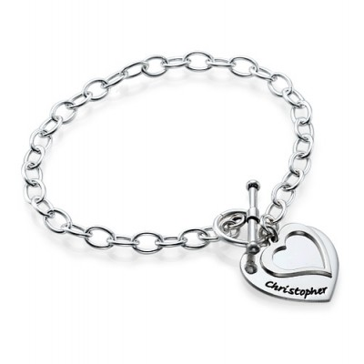 Sterling Silver Double Heart Charm Bracelet/Anklet - Name My Jewelry ™
