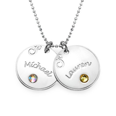 Sterling Silver Engraved Necklace with Birthstone  - Name My Jewelry ™