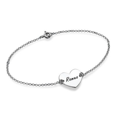 Sterling Silver Engraved Heart Couples Bracelet/Anklet - Name My Jewelry ™