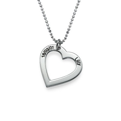 Sterling Silver Engraved Heart Necklace-One Pendant/Two Pendants/More Pendants - Name My Jewelry ™
