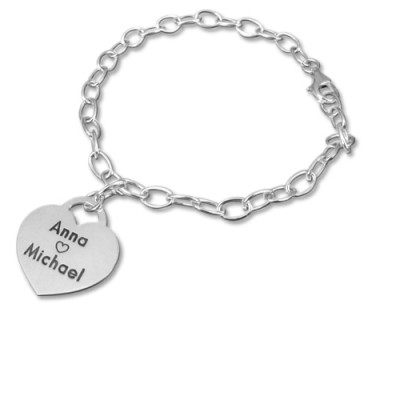 Sterling Silver Heart Charm Bracelet/Anklet - Name My Jewelry ™