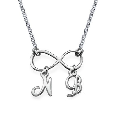 Sterling Silver Infinity Necklace with Initials - Name My Jewelry ™