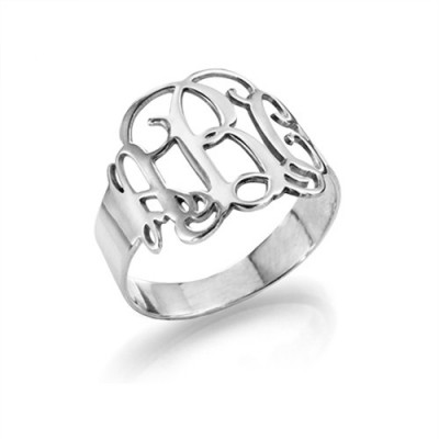 Sterling Silver Monogram Ring - Name My Jewelry ™