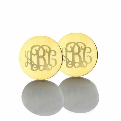 Circle Monogram 3 Initial Earrings Name Earrings 18ct Gold Plated - Name My Jewelry ™