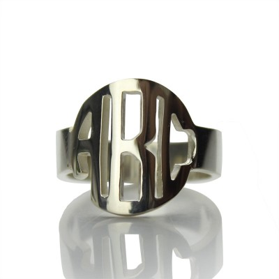 Circle Block Monogram 3 Initials Ring Solid White Gold Ring - Name My Jewelry ™