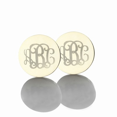 Circle Monogram 3 Initial Earrings Name Earrings Solid 18ct White Gold - Name My Jewelry ™