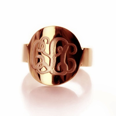 Solid Rose Gold Engraved Monogram Itnitial Ring - Name My Jewelry ™