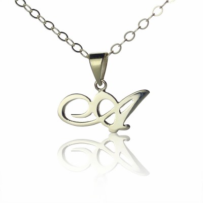 personalized Madonna Style Initial Necklace Solid White Gold - Name My Jewelry ™