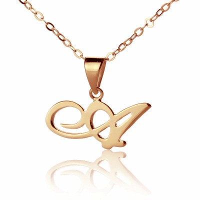 personalized Madonna Style Initial Necklace 18ct Solid Rose Gold - Name My Jewelry ™