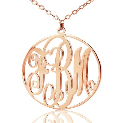 personalized 18ct Rose Gold Plated Vine Font Circle Initial Monogram Necklace - Name My Jewelry ™