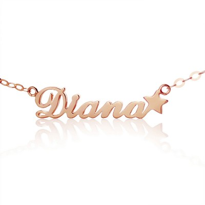 18ct Rose Gold Plated Carrie Style Name Necklace With Star - Name My Jewelry ™