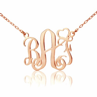personalized Initial Monogram Necklace 18ct Solid Rose Gold With Heart - Name My Jewelry ™