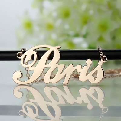 Paris Hilton Style Name Necklace 18ct Solid Rose Gold Plated - Name My Jewelry ™