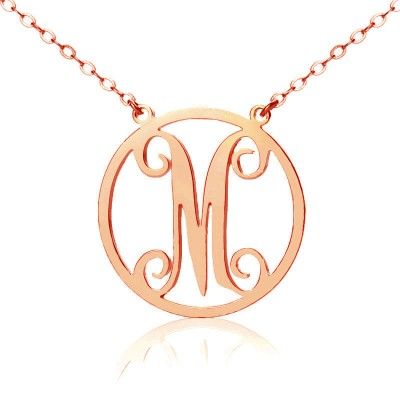 Solid Rose Gold 18ct Single Initial Circle Monogram Necklace - Name My Jewelry ™