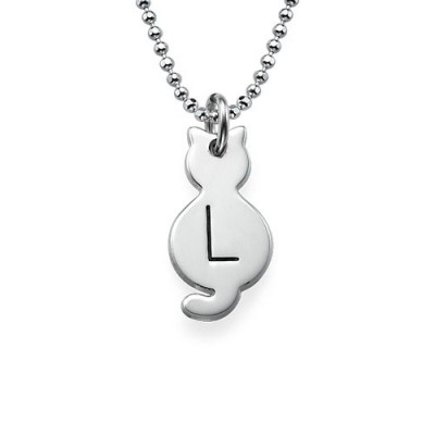Tiny Cat Necklace with Initial in Sterling Silver - Name My Jewelry ™