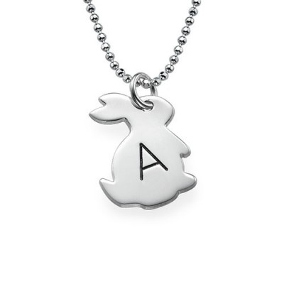 Tiny Rabbit Necklace with Initial in Silver - Name My Jewelry ™