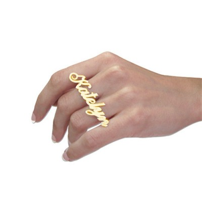 Two Finger Name Ring in Solid 18ct Gold - Name My Jewelry ™