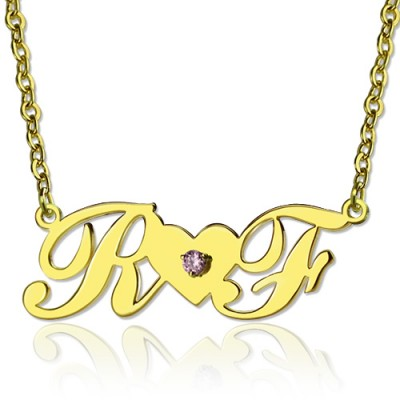 18ct Gold Plated Two Initials Necklace - Name My Jewelry ™