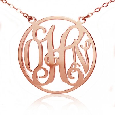 Circle 18ct Solid Rose Gold Initial Monogram Name Necklace - Name My Jewelry ™