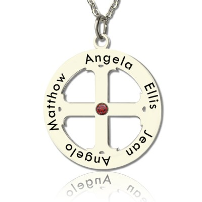 Family Circle Cross Name Necklace Silver - Name My Jewelry ™