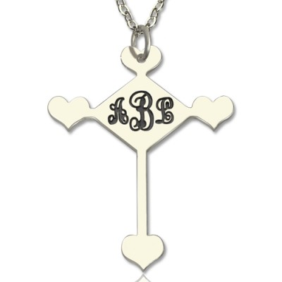 Sterling Silver Cross Monogram Necklace - Name My Jewelry ™