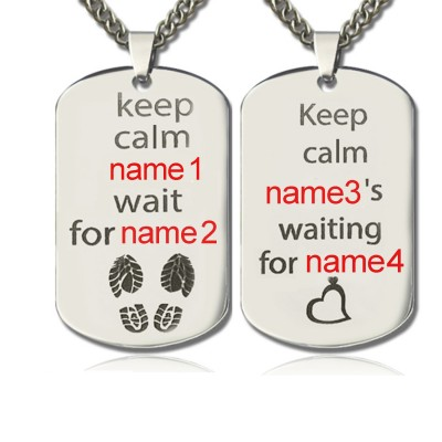 personalized Cute His and Hers Dog Tag Necklaces Sterling Silver - Name My Jewelry ™