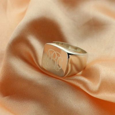 Engraved Square Designs Monogram Ring Sterling Silver - Name My Jewelry ™