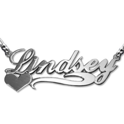 Double Thickness Side Heart Silver Name Necklace - Name My Jewelry ™