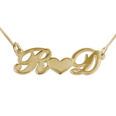 Couples Heart Necklace in 18ct Gold Plating - Name My Jewelry ™