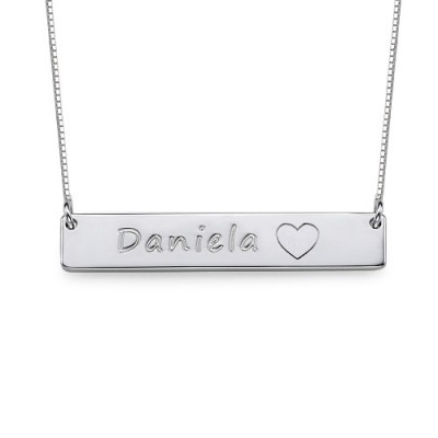 Silver Bar Necklace with Icons - Name My Jewelry ™