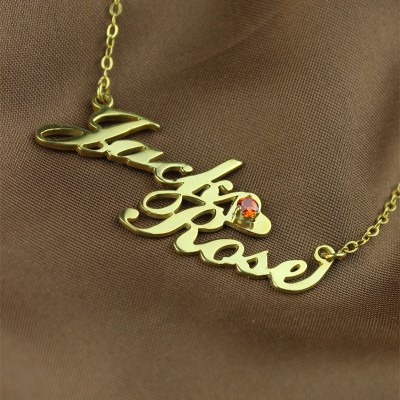 Gold Double Nameplate Necklace Carrie Style - Name My Jewelry ™