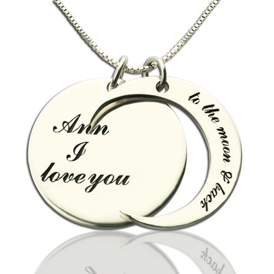 personalized I Love You to the Moon and Back Love Necklace Sterling Silver - Name My Jewelry ™