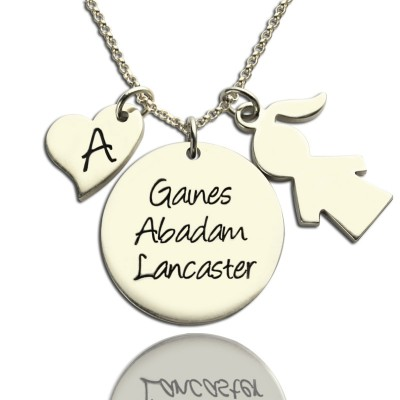 Mother Necklace Gift With Kids Name Charm Sterling Silver - Name My Jewelry ™
