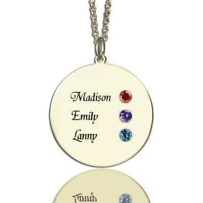 Grandma's Disc Birthstone Necklace  - Name My Jewelry ™