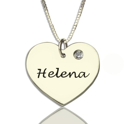 Sterling Silver Simple Heart Name Necklace with Birthstone  - Name My Jewelry ™