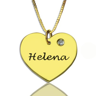 Simple Heart Necklace with Name  Birhtstone 18ct Gold Plated  - Name My Jewelry ™