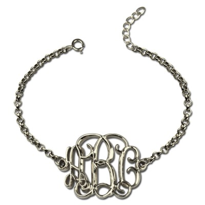 Celebrity Monogram Initial Bracelet Sterling Silver - Name My Jewelry ™
