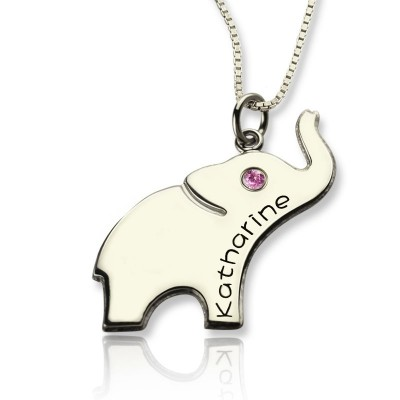 Good Luck Gifts - Elephant Necklace Engraved Name - Name My Jewelry ™