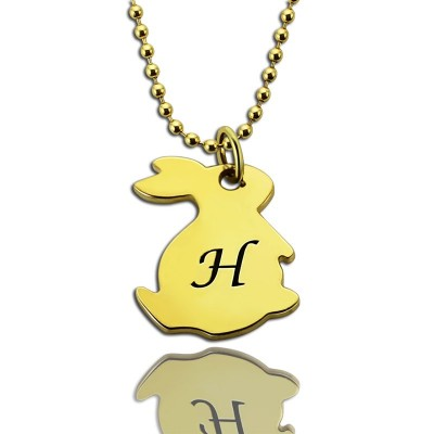 Tiny Rabbit Initial Charm Necklace 18ct Gold Plated - Name My Jewelry ™