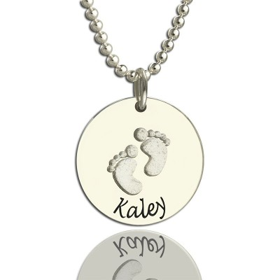 Memory Baby Footprints Name Necklace Sterling Silver - Name My Jewelry ™