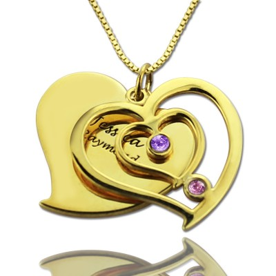 His  Her Birthstone Heart Name Necklace 18ct Gold Plated  - Name My Jewelry ™