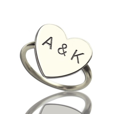 Engraved Sweetheart Ring with Double Initials Sterling Silver - Name My Jewelry ™