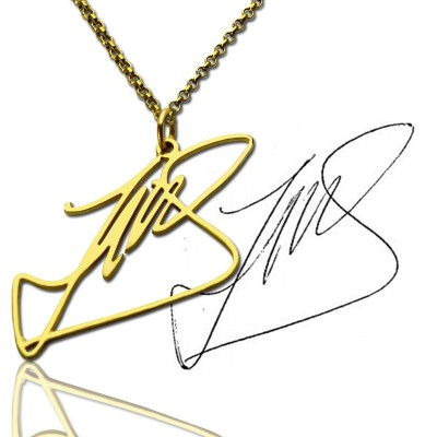 Custom Necklace with Your Own Signature 18ct Gold Plated Silver - Name My Jewelry ™