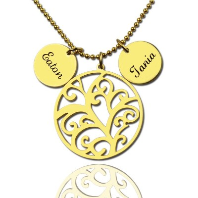Family Tree Necklace With Name Charm For Mom - Name My Jewelry ™