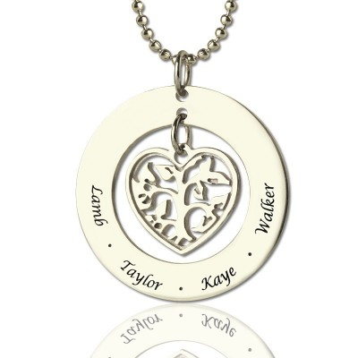 personalized Heart Family Tree Necklace Sterling Silver - Name My Jewelry ™