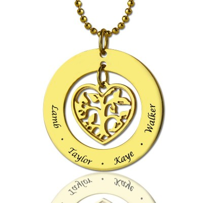Circle Family Tree Pendant Necklace In 18ct Gold Plated - Name My Jewelry ™