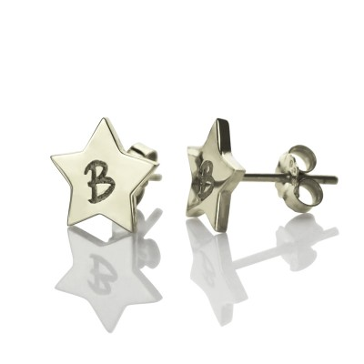 personalized Star Stud Initial Earrings In Silver - Name My Jewelry ™
