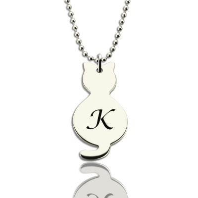 personalized Tiny Cat Initial Pendant Necklace Silver - Name My Jewelry ™